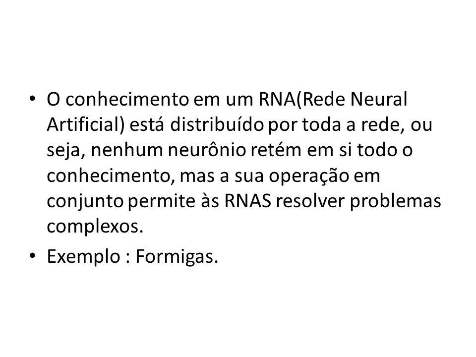 O conhecimento em um RNA(Rede Neural Artificial) está distribuído por toda a rede, ou seja, nenhum neurônio retém em si todo o conhecimento, mas a sua