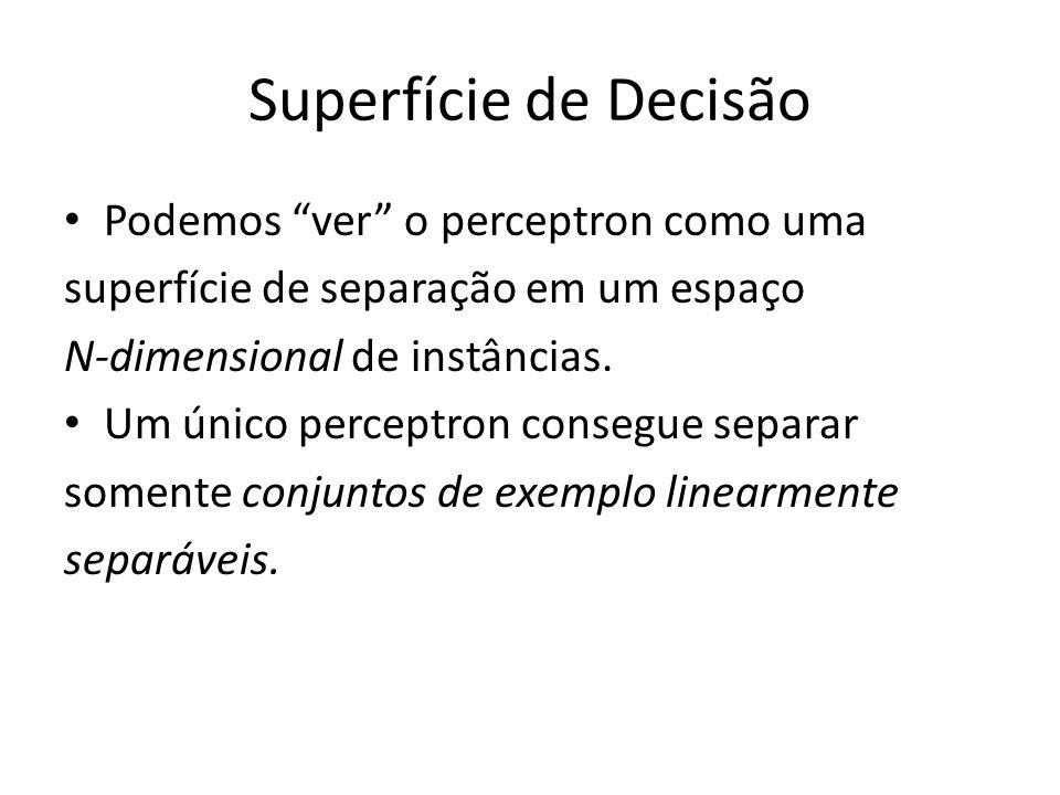 """Superfície de Decisão Podemos """"ver"""" o perceptron como uma superfície de separação em um espaço N-dimensional de instâncias. Um único perceptron conseg"""
