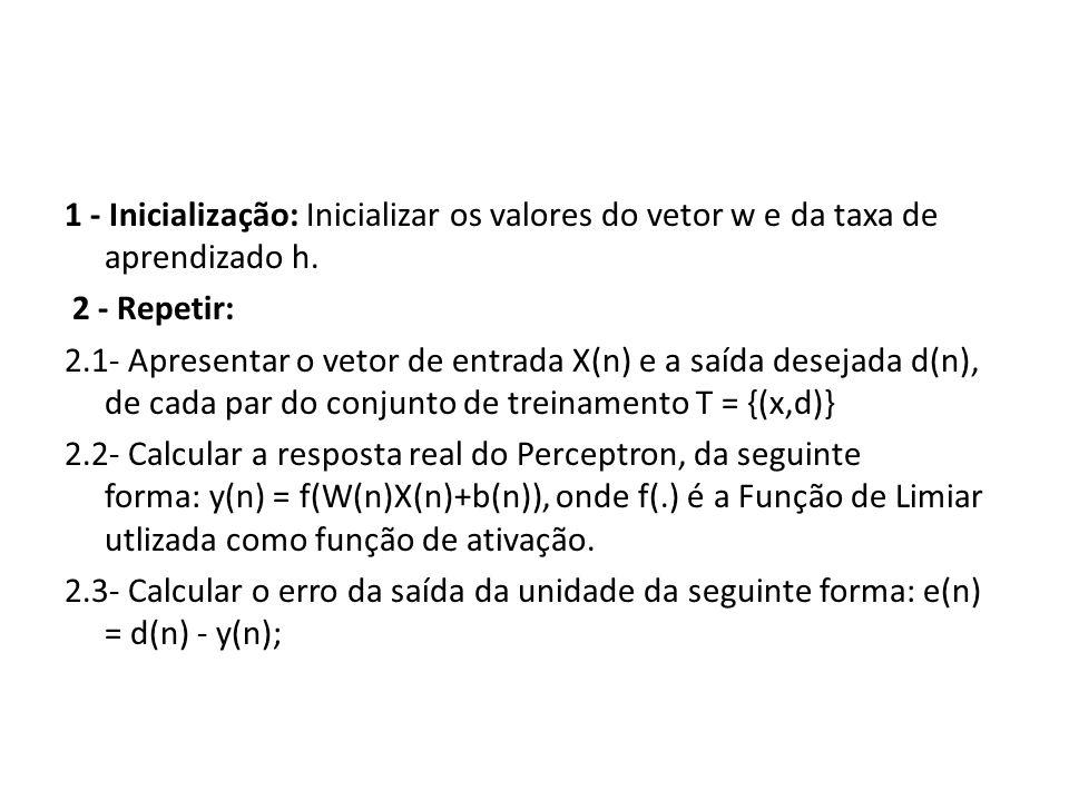 1 - Inicialização: Inicializar os valores do vetor w e da taxa de aprendizado h. 2 - Repetir: 2.1- Apresentar o vetor de entrada X(n) e a saída deseja