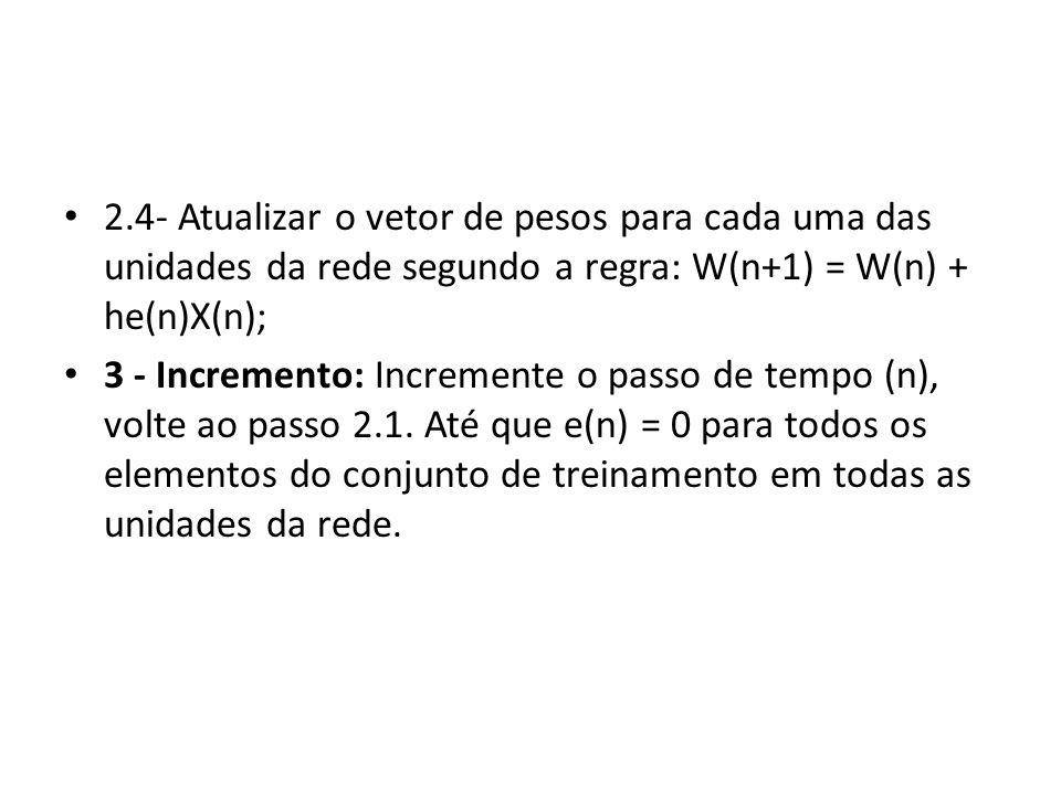 2.4- Atualizar o vetor de pesos para cada uma das unidades da rede segundo a regra: W(n+1) = W(n) + he(n)X(n); 3 - Incremento: Incremente o passo de t