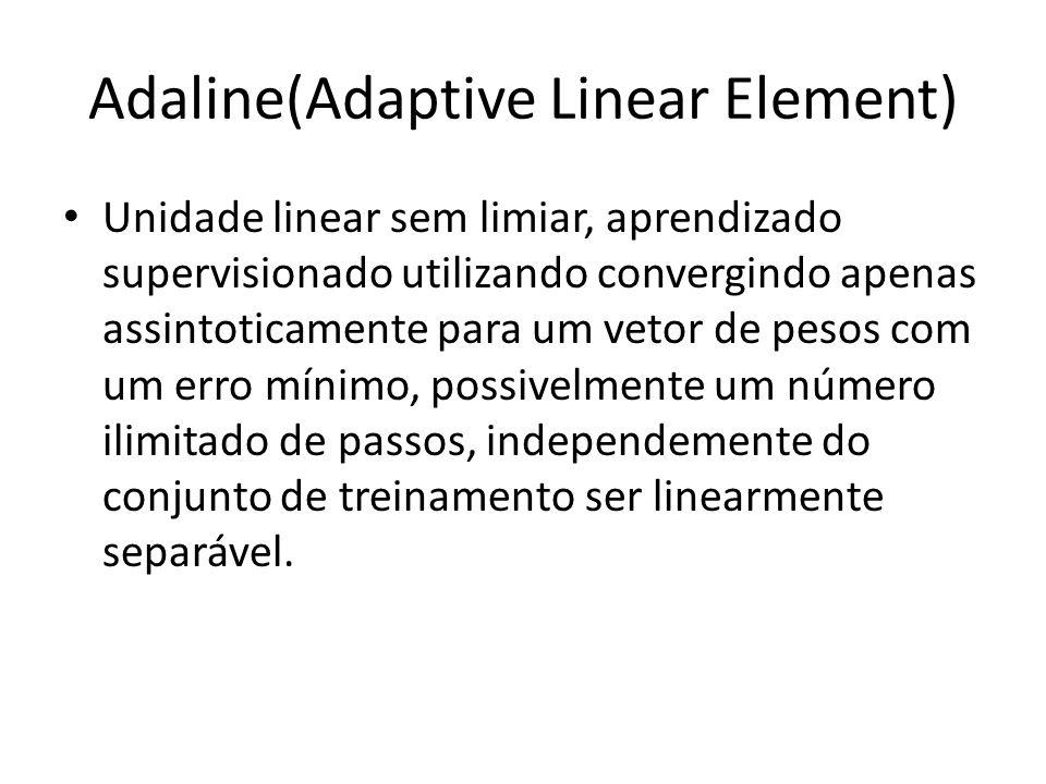Adaline(Adaptive Linear Element) Unidade linear sem limiar, aprendizado supervisionado utilizando convergindo apenas assintoticamente para um vetor de