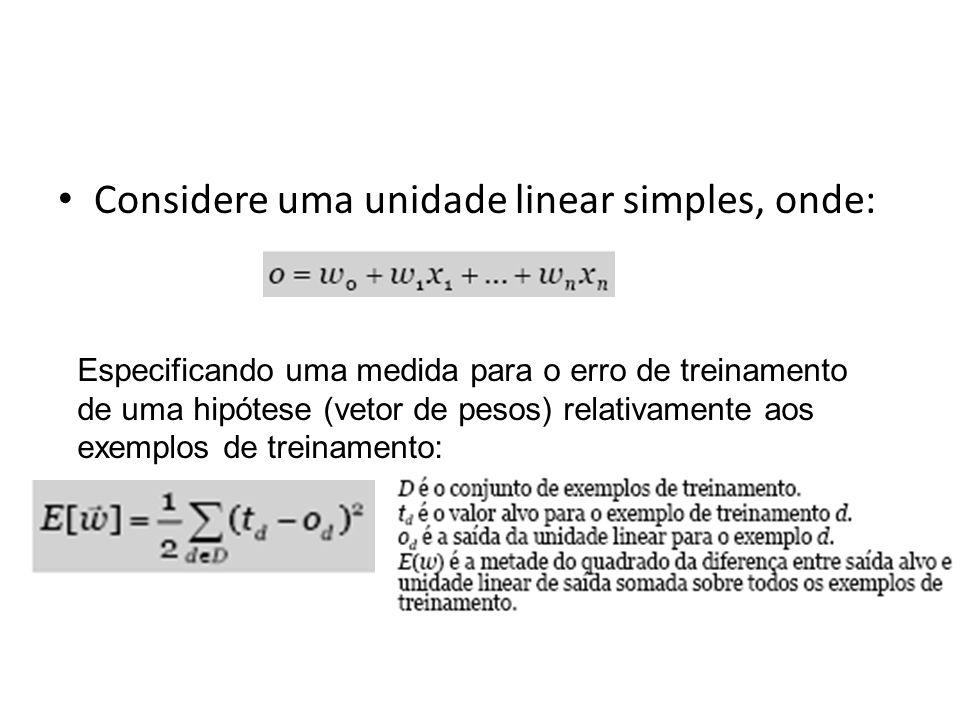 Considere uma unidade linear simples, onde: Especificando uma medida para o erro de treinamento de uma hipótese (vetor de pesos) relativamente aos exe