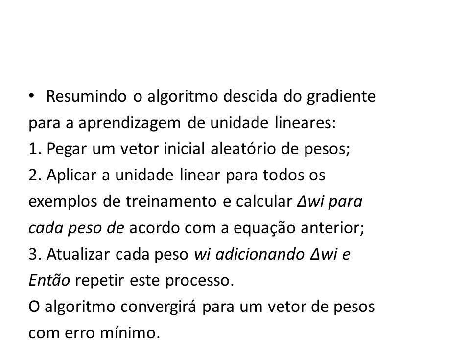 Resumindo o algoritmo descida do gradiente para a aprendizagem de unidade lineares: 1. Pegar um vetor inicial aleatório de pesos; 2. Aplicar a unidade