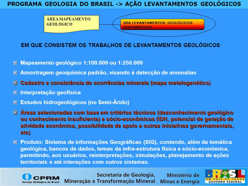 PROGRAMA GEOLOGIA DO BRASIL -> AÇÃO LEVANTAMENTOS GEOLÓGICOS ÁREA MAPEAMENTO GEOLÓGICO SBA LEVANTAMENTOS GEOLÓGICOS SISTEMÁTICOS EM QUE CONSISTEM OS T