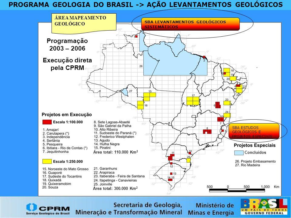 PROGRAMA GEOLOGIA DO BRASIL -> AÇÃO LEVANTAMENTOS GEOLÓGICOS ÁREA MAPEAMENTO GEOLÓGICO SBA LEVANTAMENTOS GEOLÓGICOS SISTEMÁTICOS Concluídos Área total