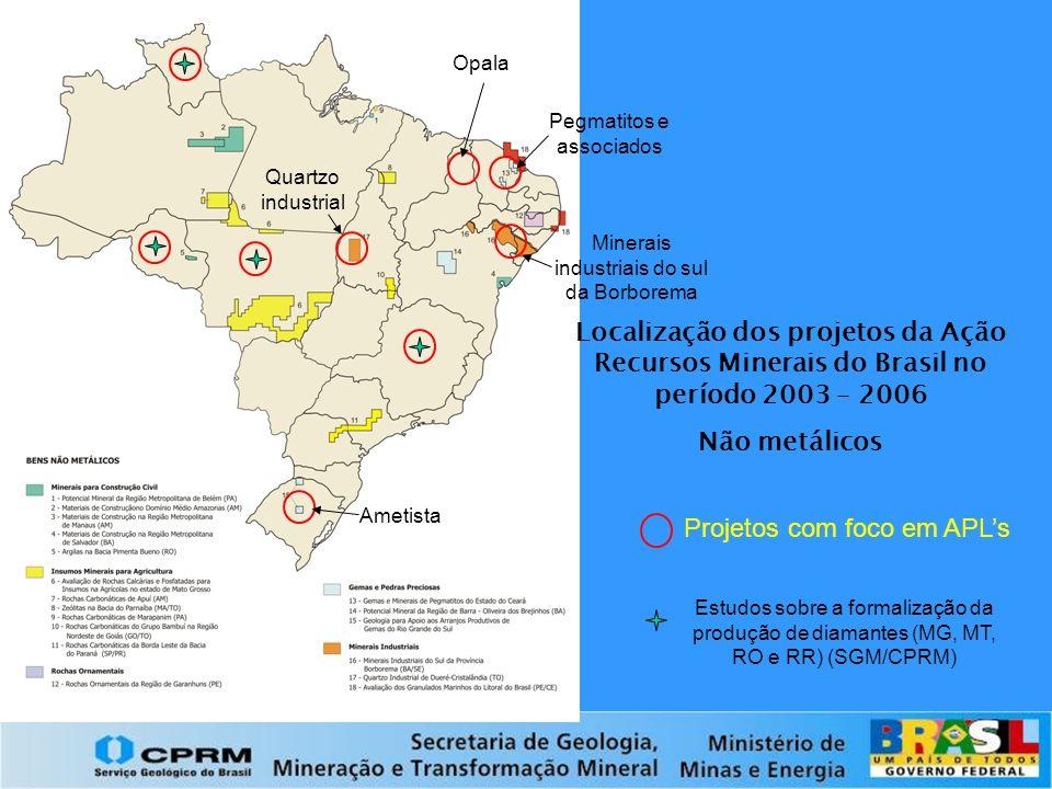 Localização dos projetos da Ação Recursos Minerais do Brasil no período 2003 – 2006 Não metálicos Projetos com foco em APL's Pegmatitos e associados O