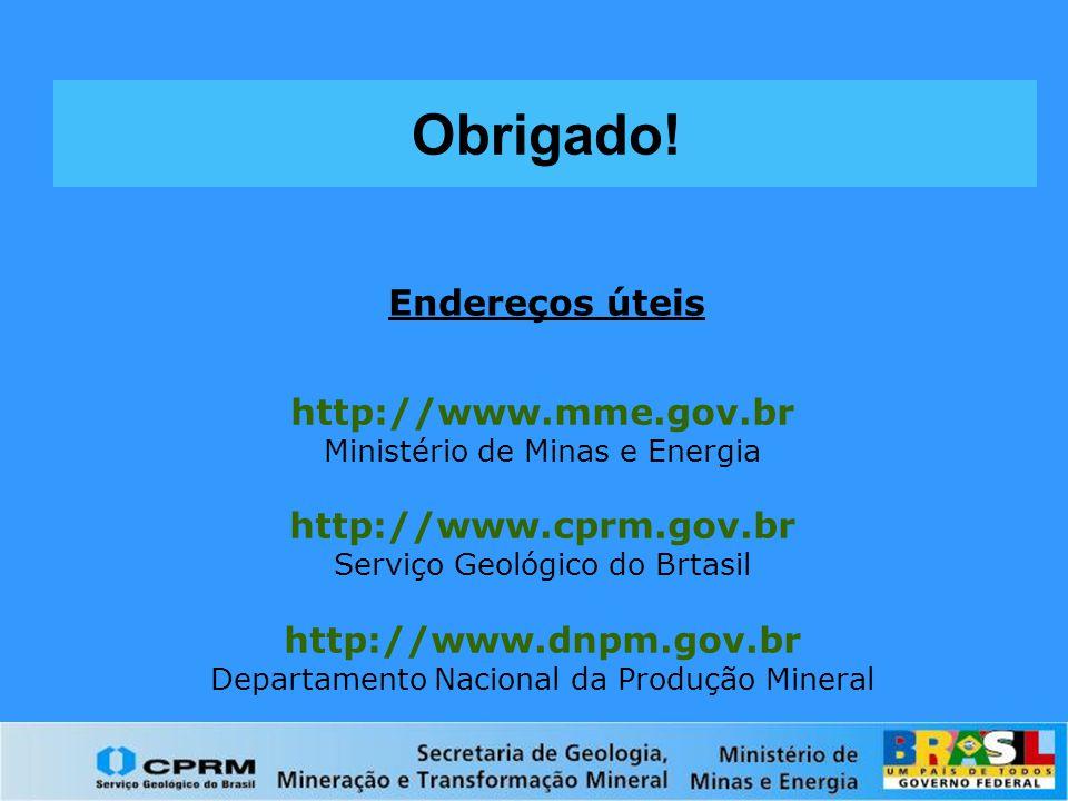 Endereços úteis http://www.mme.gov.br Ministério de Minas e Energia http://www.cprm.gov.br Serviço Geológico do Brtasil http://www.dnpm.gov.br Departa
