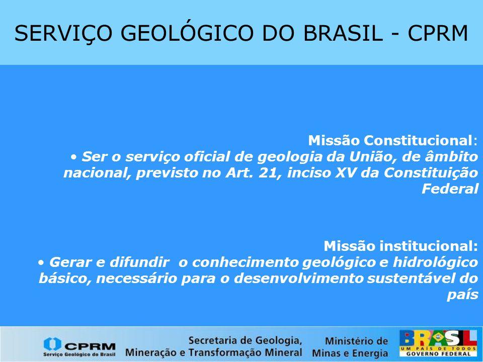 Localização dos projetos da Ação Recursos Minerais do Brasil no período 2003 – 2006 Não metálicos Projetos com foco em APL's Pegmatitos e associados Opala Quartzo industrial Ametista Minerais industriais do sul da Borborema Estudos sobre a formalização da produção de diamantes (MG, MT, RO e RR) (SGM/CPRM)