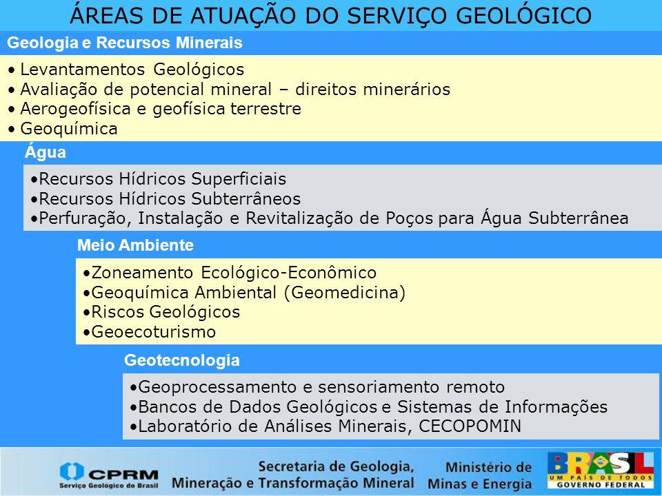 Geoprocessamento e sensoriamento remoto Bancos de Dados Geológicos e Sistemas de Informações Laboratório de Análises Minerais, CECOPOMIN ÁREAS DE ATUA