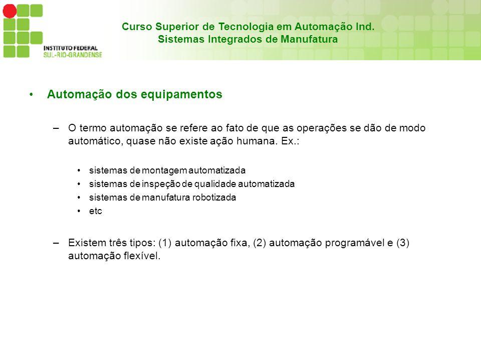 Curso Superior de Tecnologia em Automação Ind. Sistemas Integrados de Manufatura Automação dos equipamentos –O termo automação se refere ao fato de qu