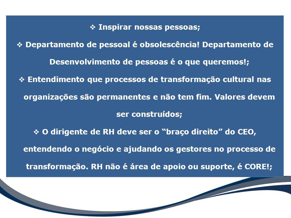  Inspirar nossas pessoas;  Departamento de pessoal é obsolescência! Departamento de Desenvolvimento de pessoas é o que queremos!;  Entendimento que