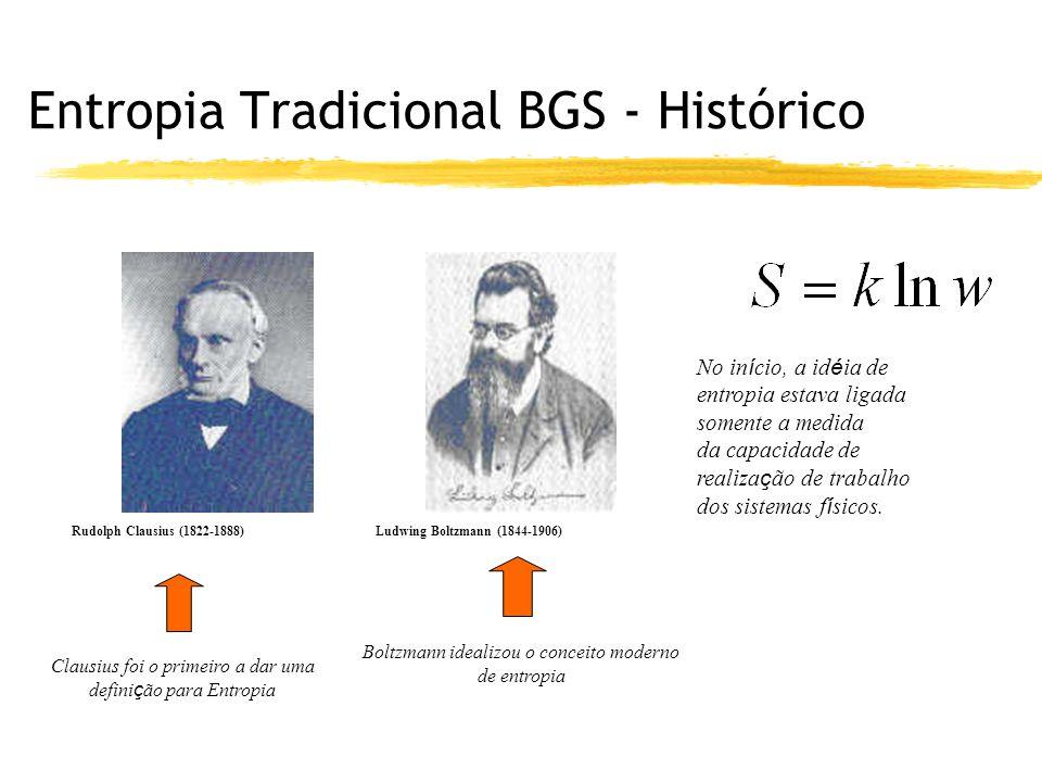Entropia Tradicional BGS - Histórico Rudolph Clausius (1822-1888) Clausius foi o primeiro a dar uma defini ç ão para Entropia Ludwing Boltzmann (1844-