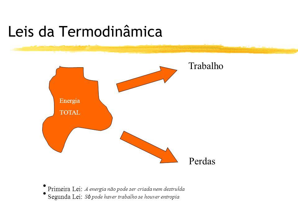 Leis da Termodinâmica Trabalho Perdas Energia TOTAL Primeira Lei: A energia não pode ser criada nem destru í da Segunda Lei: S ó pode haver trabalho s