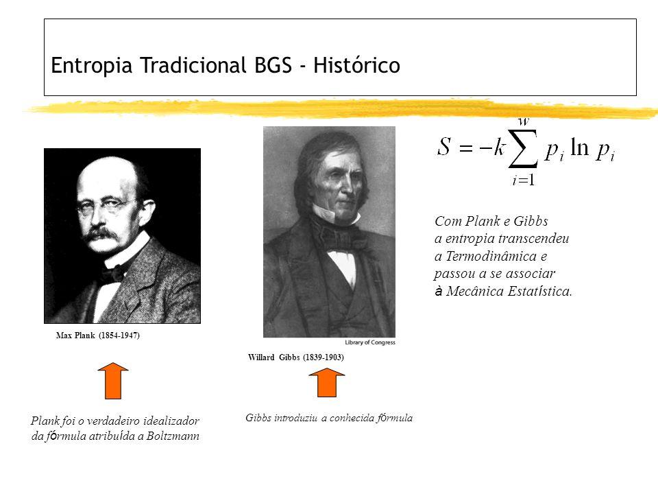 Max Plank (1854-1947) Plank foi o verdadeiro idealizador da f ó rmula atribu í da a Boltzmann Willard Gibbs (1839-1903) Gibbs introduziu a conhecida f