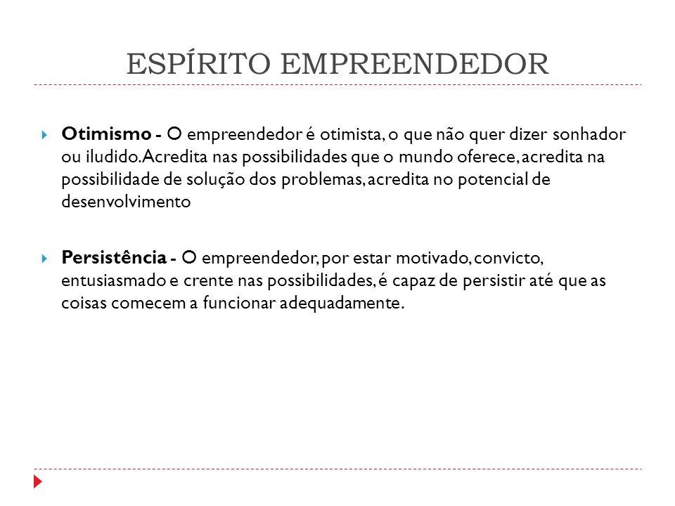 ESPÍRITO EMPREENDEDOR  Otimismo - O empreendedor é otimista, o que não quer dizer sonhador ou iludido. Acredita nas possibilidades que o mundo oferec