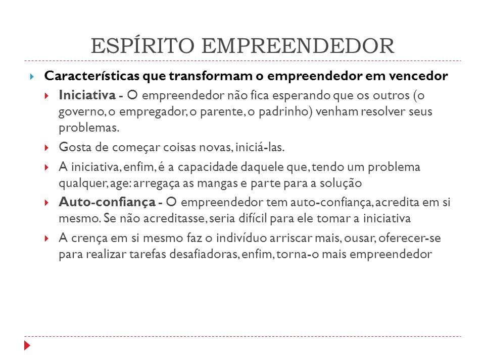 ESPÍRITO EMPREENDEDOR  Aceitação do risco - O empreendedor aceita riscos, ainda que muitas vezes seja cauteloso e precavido contra o risco.