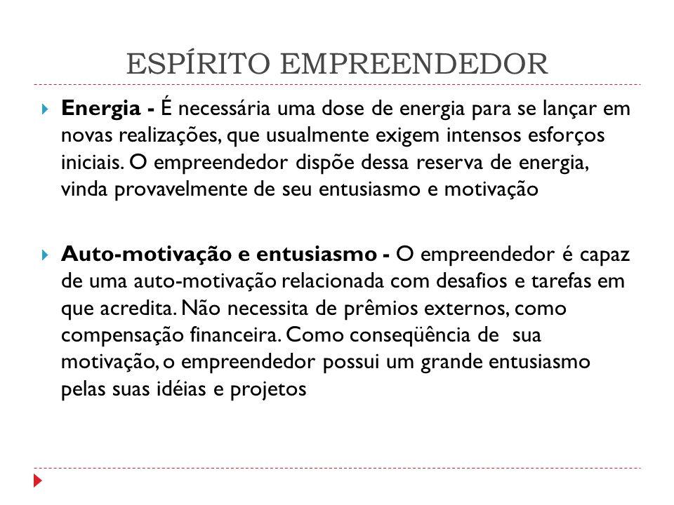 ESPÍRITO EMPREENDEDOR  Controle - O empreendedor acredita que sua realização depende de si mesmo e não de forças externas sobre as quais não tem controle.