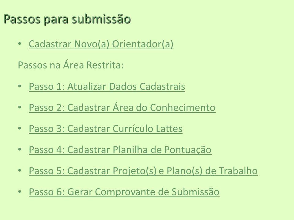 Passo 5: Cadastrar Projeto(s) e Plano de Trabalho Ao clicar em Cadastro de Projeto(s) você pode cadastrar e alterar dados/arquivos dos projetos.