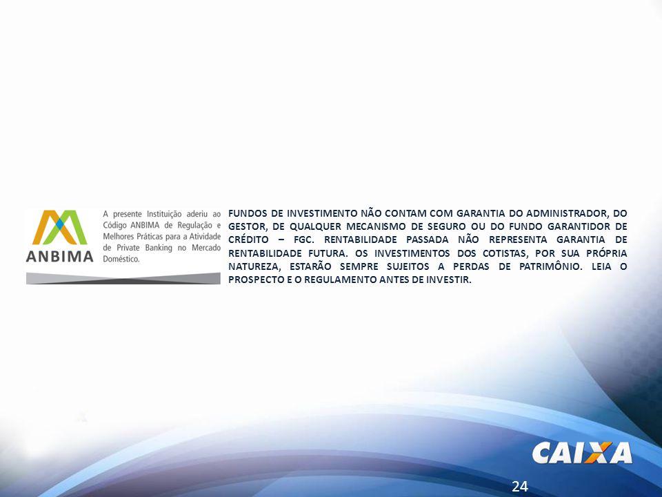 24 FUNDOS DE INVESTIMENTO NÃO CONTAM COM GARANTIA DO ADMINISTRADOR, DO GESTOR, DE QUALQUER MECANISMO DE SEGURO OU DO FUNDO GARANTIDOR DE CRÉDITO – FGC.