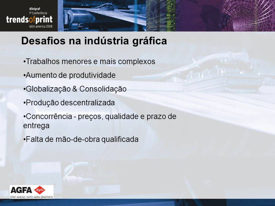 Desafios na indústria gráfica Trabalhos menores e mais complexos Aumento de produtividade Globalização & Consolidação Produção descentralizada Concorrência - preços, qualidade e prazo de entrega Falta de mão-de-obra qualificada