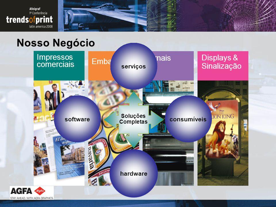 Nosso Negócio Impressos comerciais Embalagens Jornais Displays & Sinalização consumíveis hardware software serviços Soluções Completas