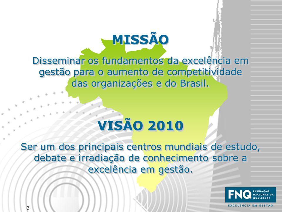 3 MISSÃO Disseminar os fundamentos da excelência em gestão para o aumento de competitividade das organizações e do Brasil. MISSÃO Disseminar os fundam