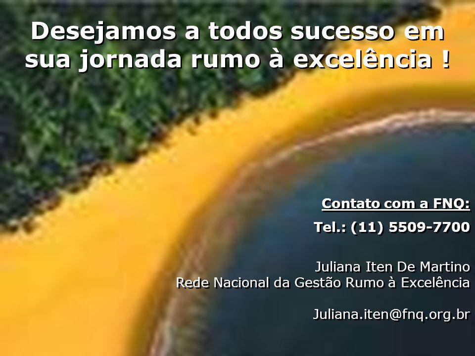 34 Desejamos a todos sucesso em sua jornada rumo à excelência ! Contato com a FNQ: Tel.: (11) 5509-7700 Juliana Iten De Martino Rede Nacional da Gestã