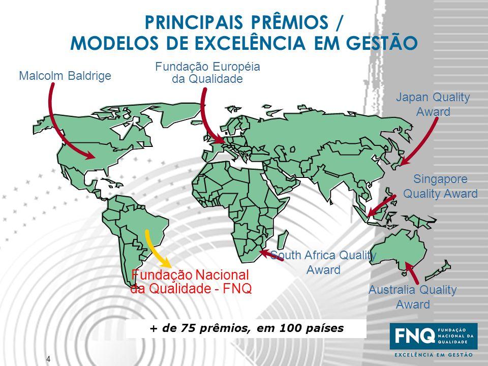 4 + de 75 prêmios, em 100 países PRINCIPAIS PRÊMIOS / MODELOS DE EXCELÊNCIA EM GESTÃO Japan Quality Award Fundação Européia da Qualidade Malcolm Baldr