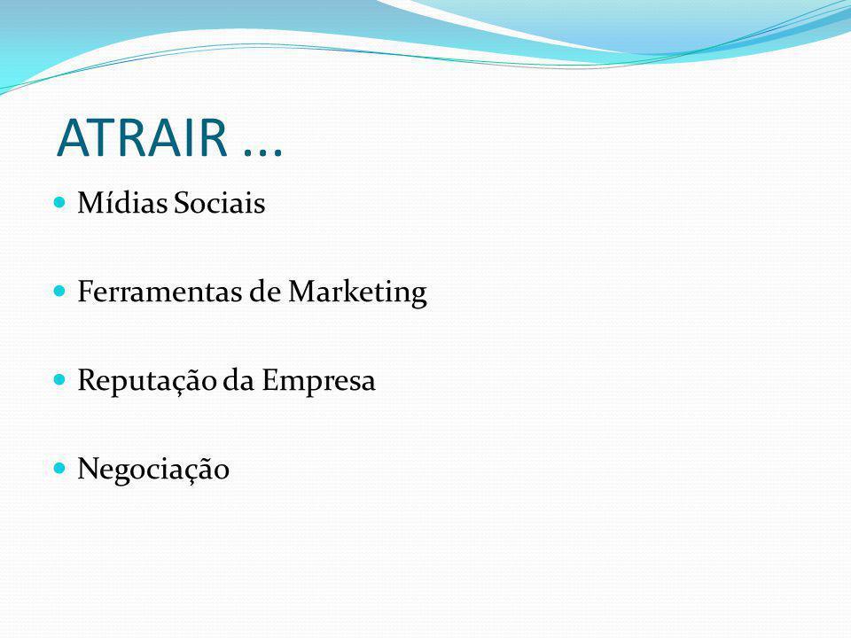 ATRAIR... Mídias Sociais Ferramentas de Marketing Reputação da Empresa Negociação