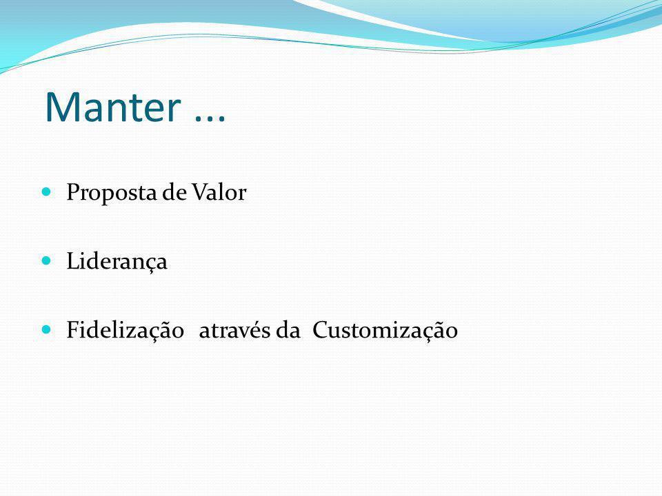 Manter... Proposta de Valor Liderança Fidelização através da Customização