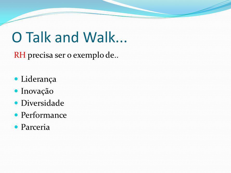 O Talk and Walk... RH precisa ser o exemplo de.. Liderança Inovação Diversidade Performance Parceria