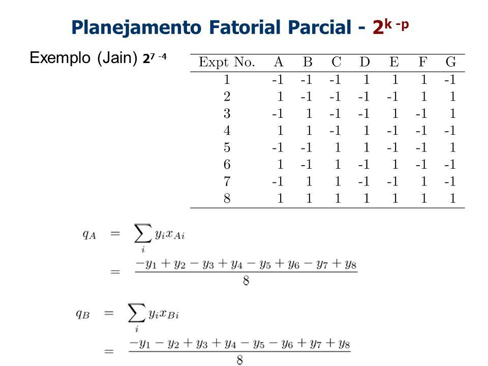 Planejamento Fatorial Parcial - 2 k -p Exemplo (Jain) 2 7 -4