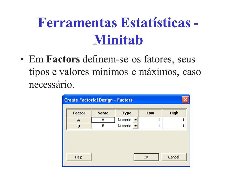 Ferramentas Estatísticas - Minitab Em Factors definem-se os fatores, seus tipos e valores mínimos e máximos, caso necessário.
