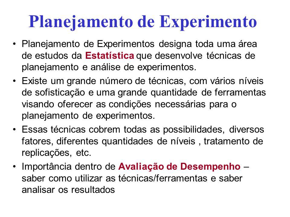 Planejamento de Experimento Planejamento de Experimentos designa toda uma área de estudos da Estatística que desenvolve técnicas de planejamento e aná