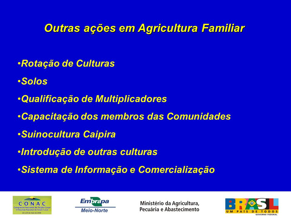 Outras ações em Agricultura Familiar Rotação de Culturas Solos Qualificação de Multiplicadores Capacitação dos membros das Comunidades Suinocultura Caipira Introdução de outras culturas Sistema de Informação e Comercialização