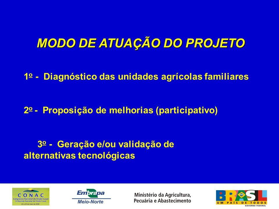MODO DE ATUAÇÃO DO PROJETO 1 o - Diagnóstico das unidades agrícolas familiares 2 o - Proposição de melhorias (participativo) 3 o - Geração e/ou valida