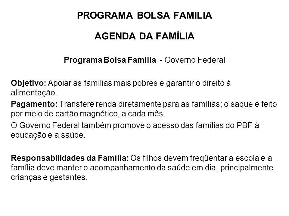 PROGRAMA BOLSA FAMILIA AGENDA DA FAMÍLIA Programa Bolsa Família - Governo Federal Objetivo: Apoiar as famílias mais pobres e garantir o direito à alimentação.