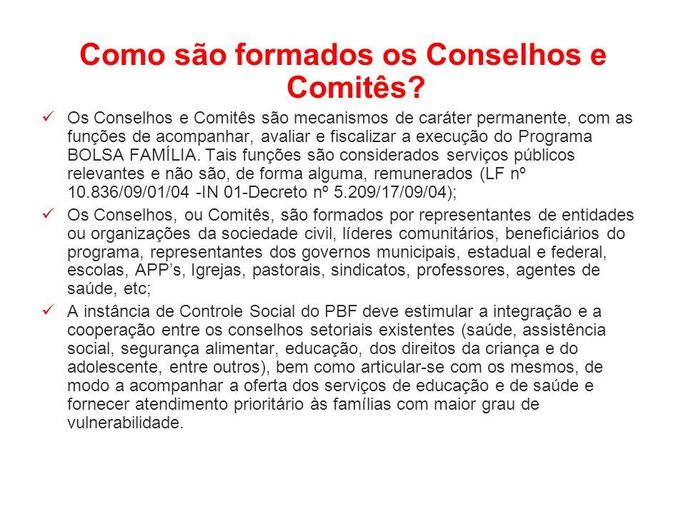 Como são formados os Conselhos e Comitês? Os Conselhos e Comitês são mecanismos de caráter permanente, com as funções de acompanhar, avaliar e fiscali