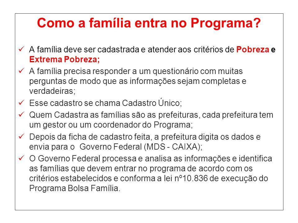 Como a família entra no Programa? A família deve ser cadastrada e atender aos critérios de Pobreza e Extrema Pobreza; A família precisa responder a um