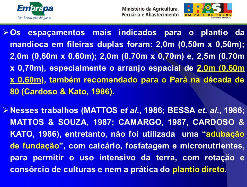  Os espaçamentos mais indicados para o plantio da mandioca em fileiras duplas foram: 2,0m (0,50m x 0,50m); 2,0m (0,60m x 0,60m); 2,0m (0,70m x 0,70m)