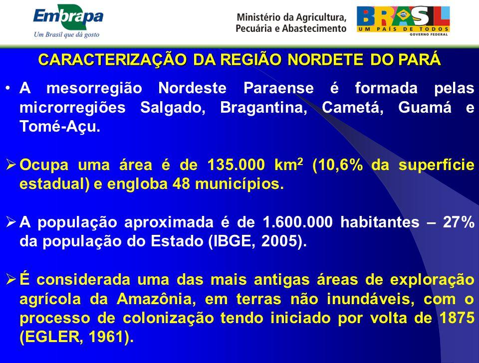 CARACTERIZAÇÃO DA REGIÃO NORDETE DO PARÁ A mesorregião Nordeste Paraense é formada pelas microrregiões Salgado, Bragantina, Cametá, Guamá e Tomé-Açu.