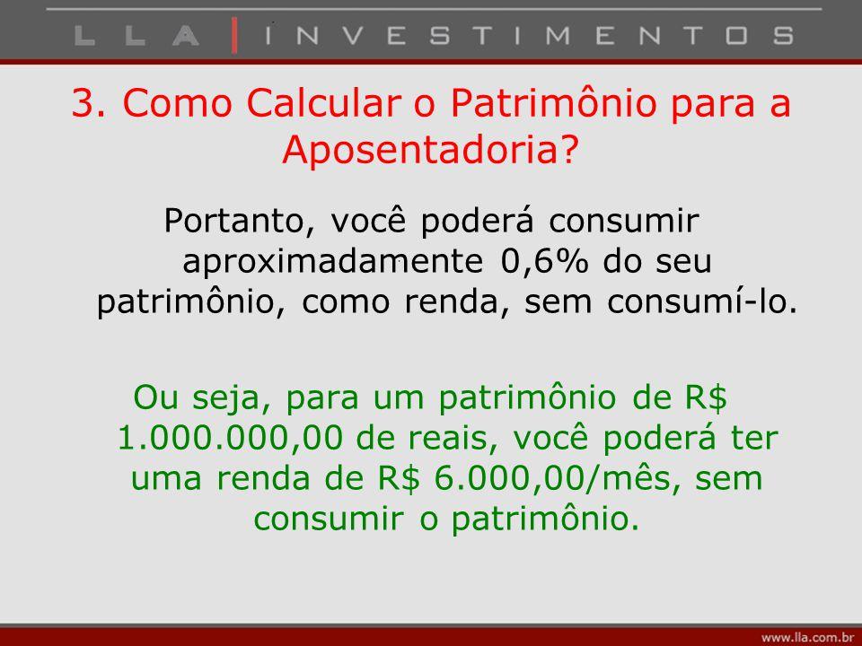 Portanto, você poderá consumir aproximadamente 0,6% do seu patrimônio, como renda, sem consumí-lo. Ou seja, para um patrimônio de R$ 1.000.000,00 de r