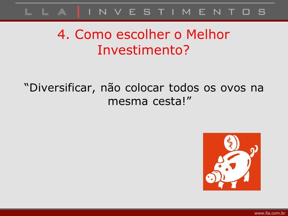 """4. Como escolher o Melhor Investimento? """"Diversificar, não colocar todos os ovos na mesma cesta!"""""""