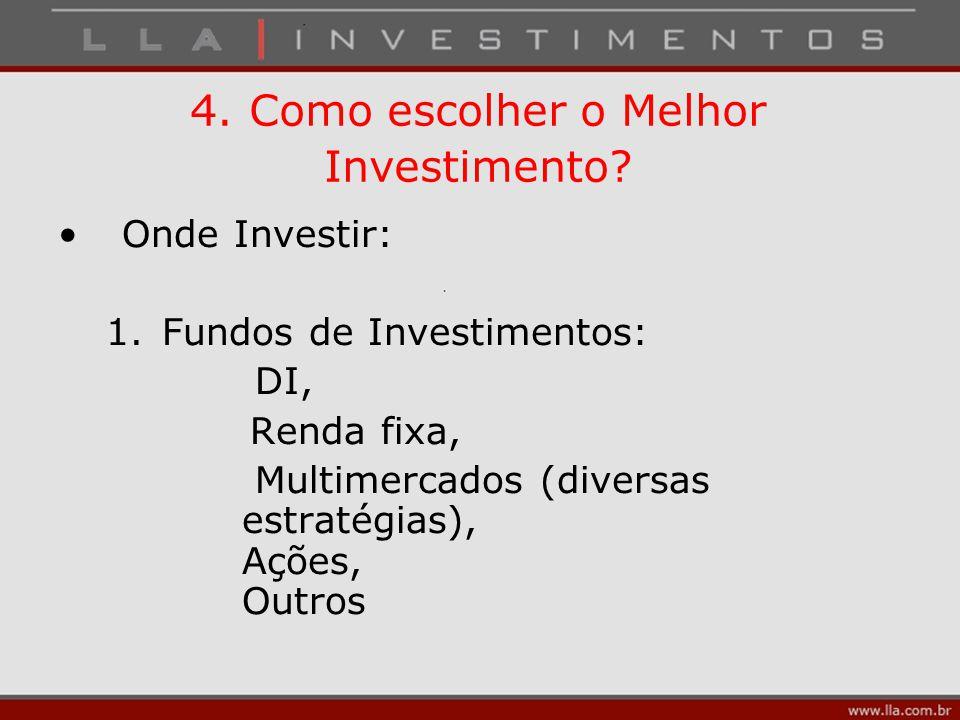 4. Como escolher o Melhor Investimento? Onde Investir: 1.Fundos de Investimentos: DI, Renda fixa, Multimercados (diversas estratégias), Ações, Outros