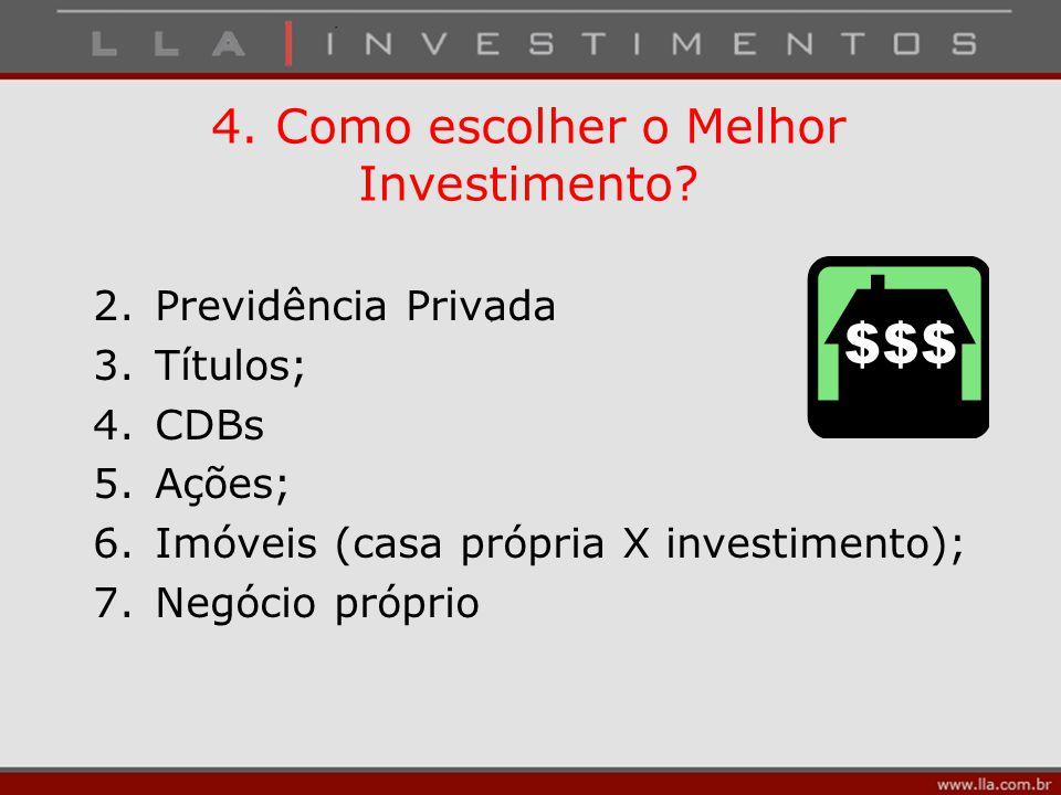 4. Como escolher o Melhor Investimento? 2.Previdência Privada 3.Títulos; 4.CDBs 5.Ações; 6.Imóveis (casa própria X investimento); 7.Negócio próprio