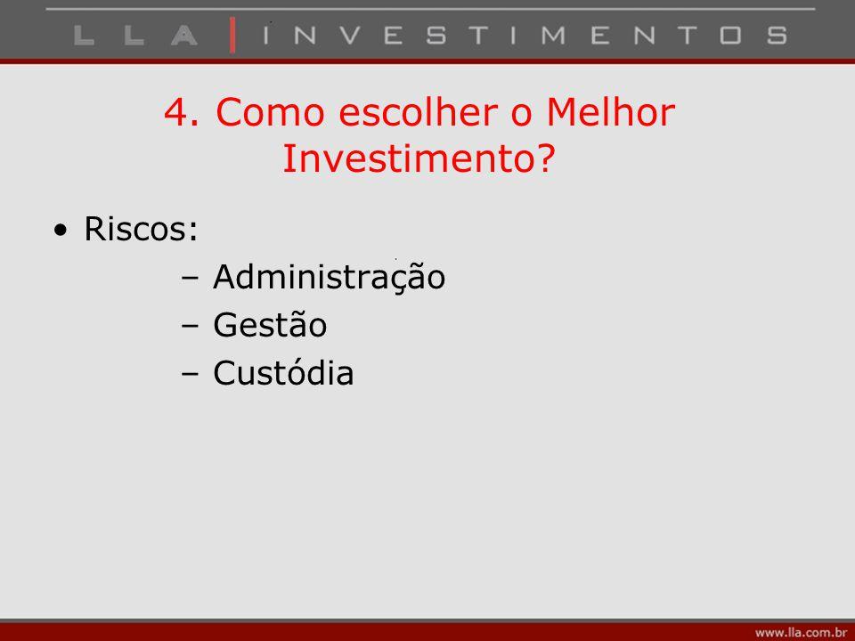 4. Como escolher o Melhor Investimento? Riscos: – Administração – Gestão – Custódia