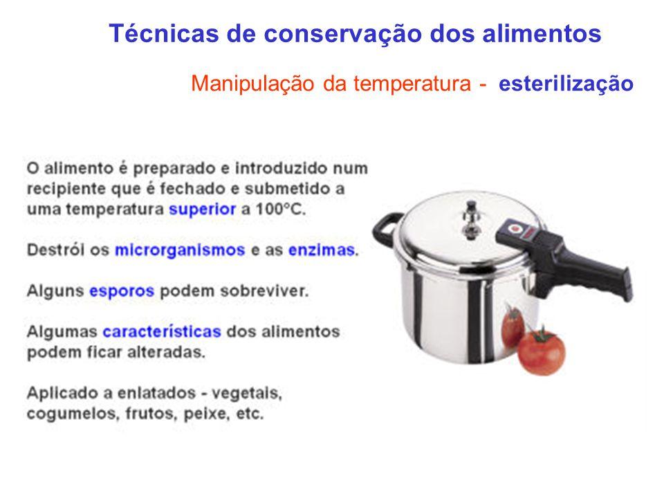 Técnicas de conservação dos alimentos Manipulação da temperatura - esterilização