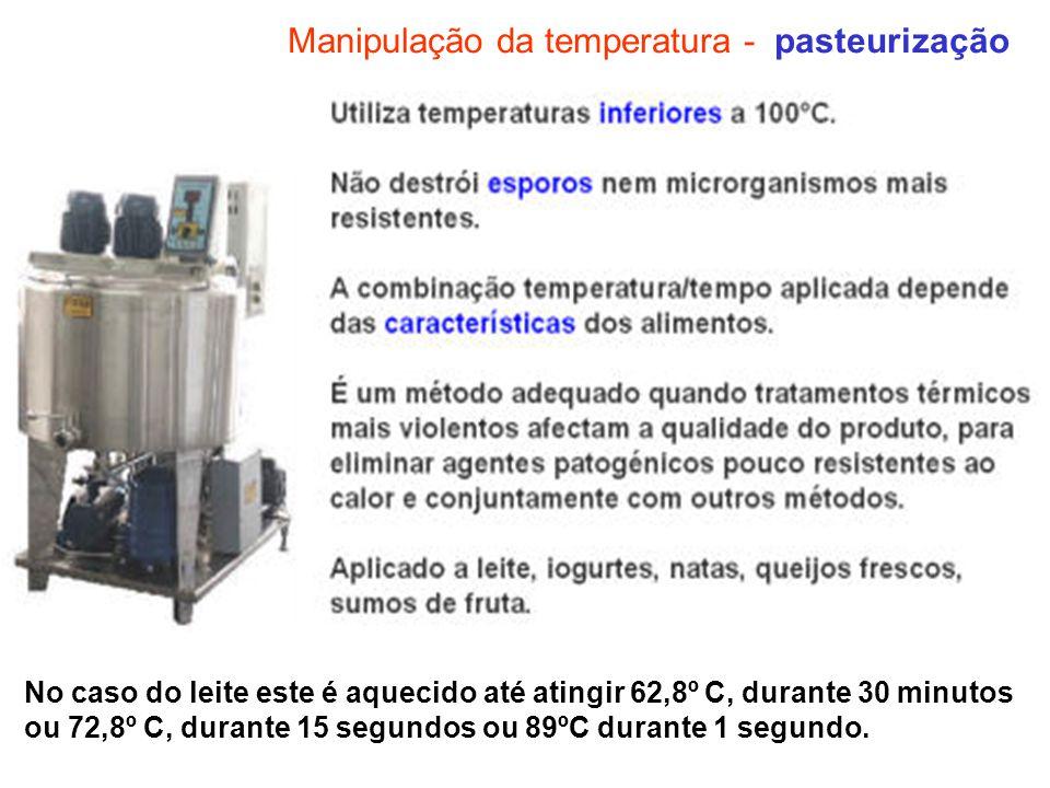 Manipulação da temperatura - pasteurização No caso do leite este é aquecido até atingir 62,8º C, durante 30 minutos ou 72,8º C, durante 15 segundos ou
