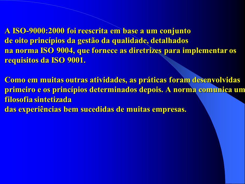 A ISO-9000:2000 foi reescrita em base a um conjunto de oito princípios da gestão da qualidade, detalhados na norma ISO 9004, que fornece as diretrizes