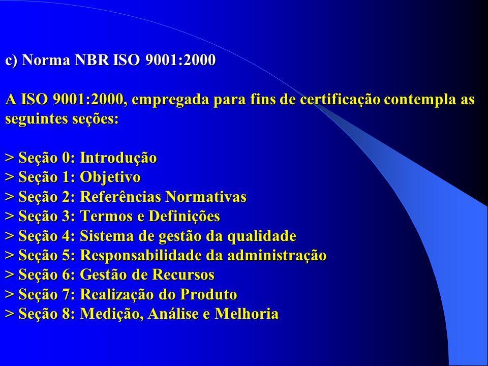 c) Norma NBR ISO 9001:2000 A ISO 9001:2000, empregada para fins de certificação contempla as seguintes seções: > Seção 0: Introdução > Seção 1: Objetivo > Seção 2: Referências Normativas > Seção 3: Termos e Definições > Seção 4: Sistema de gestão da qualidade > Seção 5: Responsabilidade da administração > Seção 6: Gestão de Recursos > Seção 7: Realização do Produto > Seção 8: Medição, Análise e Melhoria c) Norma NBR ISO 9001:2000 A ISO 9001:2000, empregada para fins de certificação contempla as seguintes seções: > Seção 0: Introdução > Seção 1: Objetivo > Seção 2: Referências Normativas > Seção 3: Termos e Definições > Seção 4: Sistema de gestão da qualidade > Seção 5: Responsabilidade da administração > Seção 6: Gestão de Recursos > Seção 7: Realização do Produto > Seção 8: Medição, Análise e Melhoria